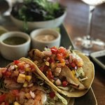 Outstanding fish and prawn tacos with fresh minced mango.  Renowned Cooperage G&T with floral ac