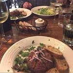 Steak tartare (foreground), Sweetbreads w. Frisee (background)