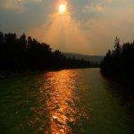 the setting sun in July