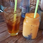 Plantation Tea Soda and a fresh Papaya Juice Smoothie