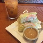 Great Thai tea and fresh shrimp rolls