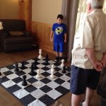 Giant chess board in lounge area was a great entertainment for our 7 year old grandson. 2 piece