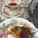 Cup of English tea and slice of quiche
