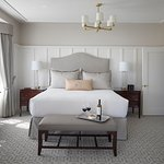 Lovely newly renovated bedroom: Custom designed furniture and fabrics