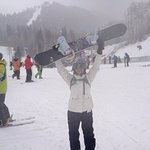 Snowboarding in the nearby mountains.
