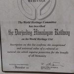 The darjeeling heritage mountain Railway- a certificate of pride