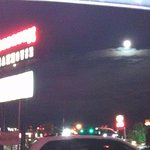 Outside the Steak house what a beautiful moon out