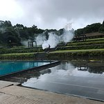 evening fogging being done near the outdoor pool
