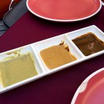 Mole sauces (L-R) Cilantro, pumpkin, chocolate