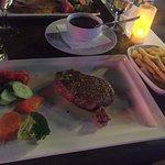 fillet steak, pepper sauce, chips and veg