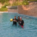 In the pool with kids