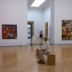 Taking a well earned rest in this magnificent abstract painting exhibition.