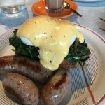 Egg Florentine with additional sausage