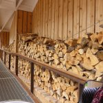 Logs stacked in ramp entrance to main entrance and visitor centre. They gave off a fantastic sme