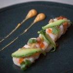 Shrimp Carpaccio with salmon roe, avocado, pickled watermelon rind, sriracha emulsion
