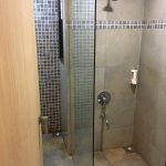 Improper bathroom layout. Glass separation wall in front of door.