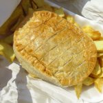 Pie and chips to eat on the sea wall.