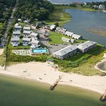 Aerial view of resort and private beach