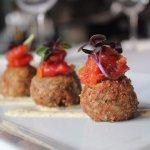 PORK CHEEK BOUDIN BALLS tomato-bacon jam ∙ creole mustard aioli