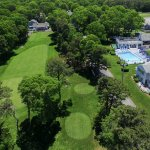 Drones-eye view of the resort and golf course