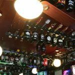 Bar with growlers on ceiling