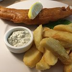 small portion of fish and chips £12 - you can just about see the pea puree