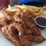 Lunch chicken tenders and fries chicken platters. This was lunch portions. Came with salad bar,