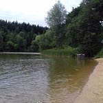 This is the sand beach by the lake