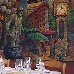 Artwork of local landmark inside the restaurant
