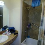 Better view of the shower on the right side in the bathroom.