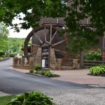 The historic water wheel located near the entrance.