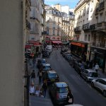 View down Rue de Bucci from room early morning