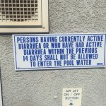 Pool side sign
