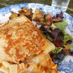Ratatouille crepe with cheddar, mixed greens with lemon vinaigrette and roasted potatoes