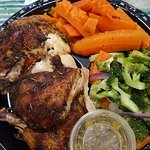 Roasted half-chicken with yummy veggie sides!!