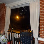 Watching fireworks from the front porch