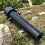 One of the many massive smooth bore cannons found throughout the fort