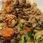 Filet mignon and scallops hibachi