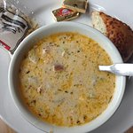 Salmon chowder. Good bread, too!
