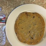 Mega large cookie - almost the same length as the bottled water.