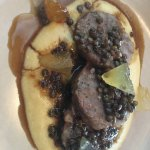 Housemade pork sausage, polenta, de puy lentils and mustard fruis