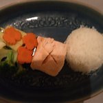 Salmon with steamed rice and vegetables