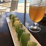 Avocado sushi and roselle iced tea