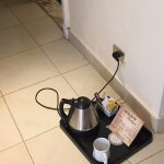 Only place where I could plug the coffee pot - Hotel promised to fix this