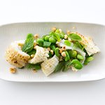 Cuttlefish with broad beans and hazelnuts