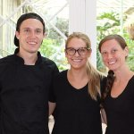 This is the catering team from the 195 Restaurant; Decker, Anna and Sarah, real pros!