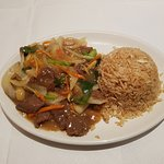 Beef with ginger, spring onion and fried rice