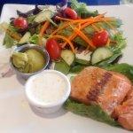 Grilled Salmon sandwich (no bun) with salad