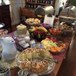 Breakfast buffet spread