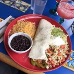 Fajita burrito and gorgeous pomegranate margarita!